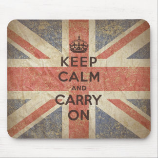 Keep Calm and Carry On with UK Flag Mousepads