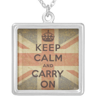 Keep Calm and Carry On with UK  Flag Square Pendant Necklace