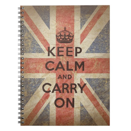 Keep Calm and Carry On with UK Flag Notebook