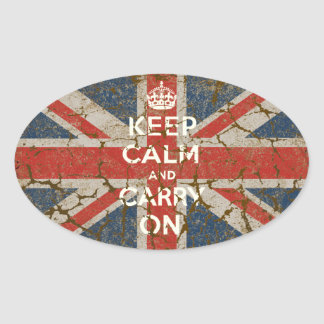 Keep Calm and Carry On with UK  Flag Oval Sticker