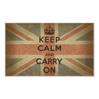 Keep Calm and Carry On with UK  Flag Poster