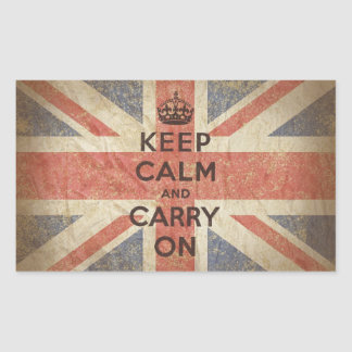 Keep Calm and Carry On with UK Flag Rectangular Sticker