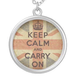 Keep Calm and Carry On with UK  Flag Round Pendant Necklace