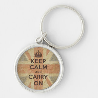 Keep Calm and Carry On with UK Flag Silver-Colored Round Keychain
