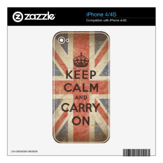 Keep Calm and Carry On with UK Flag Skin For iPhone 4