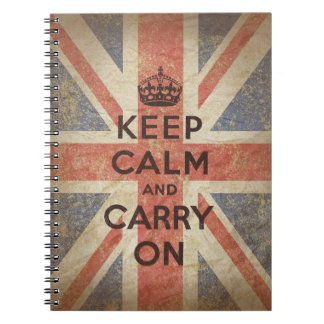 Keep Calm and Carry On with UK Flag Spiral Notebook