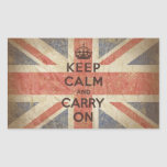 Keep Calm and Carry On with UK Flag Rectangle Stickers