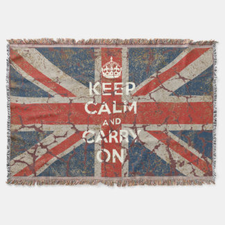 Keep Calm and Carry On with UK  Flag Throw Blanket