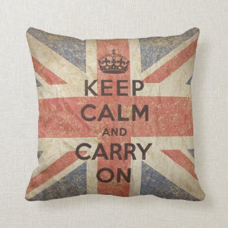 Keep Calm and Carry On with UK Flag Throw Pillow