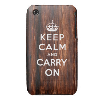 Keep Calm and Carry On   Wood Panel Print Case-Mate iPhone 3 Case