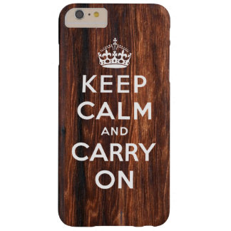 Keep Calm and Carry On Wood Print Barely There iPhone 6 Plus Case