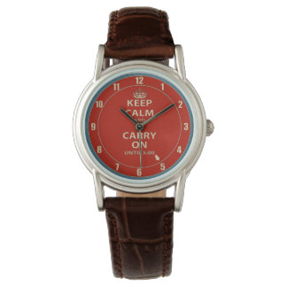 Keep Calm and Carry On Work Time Wristwatches