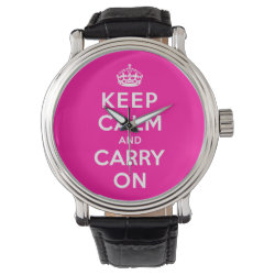 Men's Vintage Black Leather Strap Watch with Keep Calm and Carry On (Magenta) design