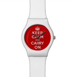 Round May28th Watch with Keep Calm and Carry On (Red) design