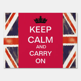 Keep Calm And Carry On Yard Sign (Medium)