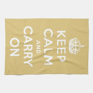 Keep Calm and Carry On Yellow kitchentowel