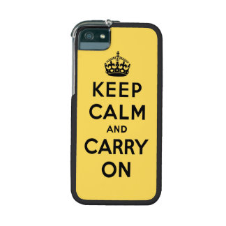 keep calm and carry on -  yellow and black iPhone 5 cover
