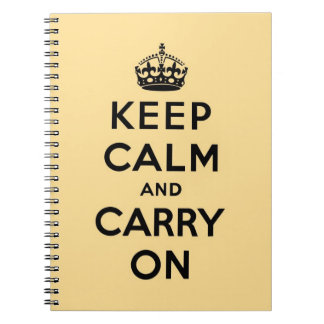 keep calm and carry on -  yellow and black notebook