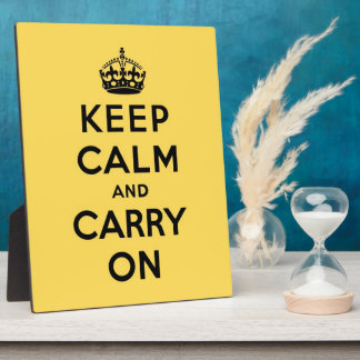 keep calm and carry on - Yellow and Black Plaque