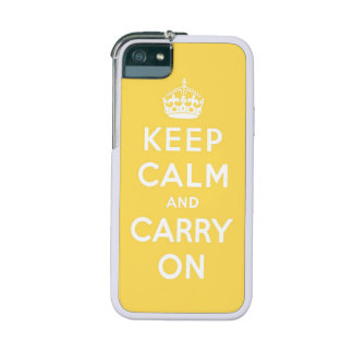 keep calm and carry on - Yellow and white iPhone 5/5S Cases