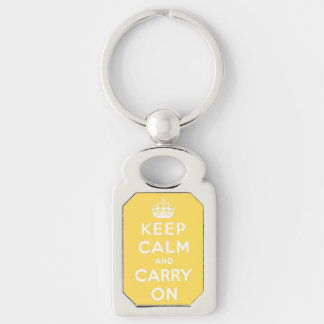 keep calm and carry on - Yellow and white Silver-Colored Rectangular Metal Keychain
