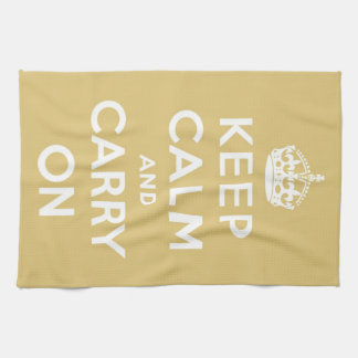 Keep Calm and Carry On Yellow Hand Towel