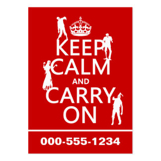 Keep Calm and Carry On (zombies) (any color) Large Business Cards (Pack Of 100)