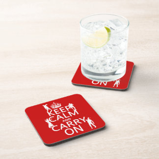Keep Calm and Carry On (zombies) (any color) Beverage Coasters