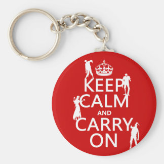 Keep Calm and Carry On (zombies) (any color) Key Chains