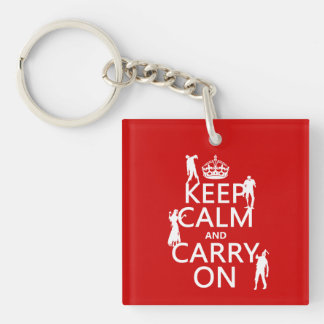 Keep Calm and Carry On (zombies) (any color) Keychain
