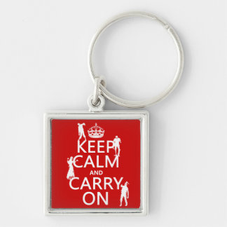 Keep Calm and Carry On (zombies) (any color) Keychains