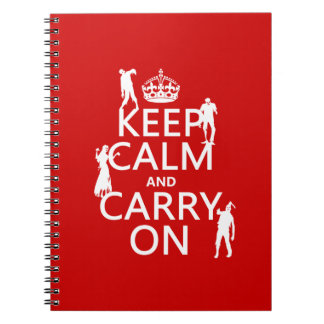 Keep Calm and Carry On (zombies) (any color) Note Books