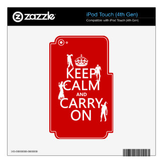 Keep Calm and Carry On (zombies) (any color) Skins For iPod Touch 4G