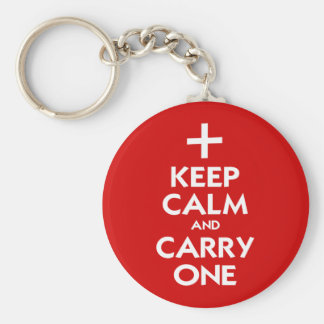 Keep Calm and Carry One Basic Round Button Keychain