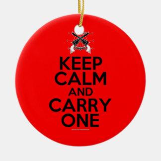 Keep Calm and Carry One Ceramic Ornament
