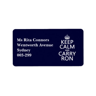 Keep Calm and Carry Ron (customise colors) Label