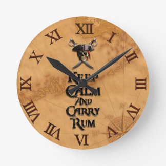 Keep Calm And Carry Rum Round Wall Clock