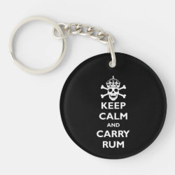 Circle Keychain with Keep Calm and Carry Rum design