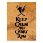 Keep Calm And Carry Rum Postcard