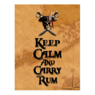 Keep Calm And Carry Rum Postcard