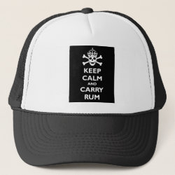 Trucker Hat with Keep Calm and Carry Rum design