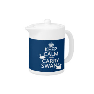 Keep Calm and Carry Swans - all colors Teapot