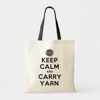 keep calm and carry yarn budget tote bag