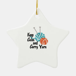 KEEP CALM AND CARRY YARN CERAMIC ORNAMENT