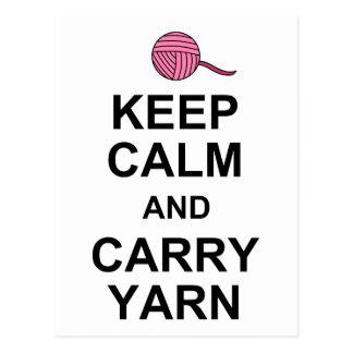 Keep Calm and Carry Yarn Postcard