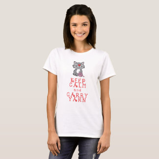 Keep Calm and Carry Yarn tee with cat