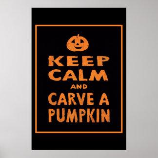 Keep Calm and Carve a Pumpkin Halloween Poster