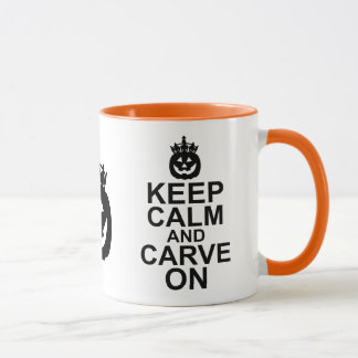 Keep Calm and Carve On Halloween Pumpkin Mug