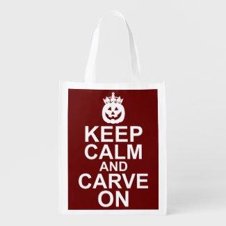 Keep Calm and Carve On Halloween Pumpkin Reusable Grocery Bag