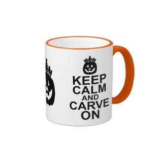 Keep Calm and Carve On Halloween Pumpkin Ringer Coffee Mug